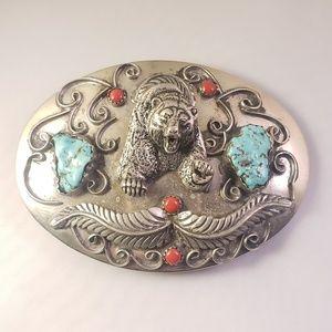Vintage Navajo Turquoise Coral Bear Belt Buckle